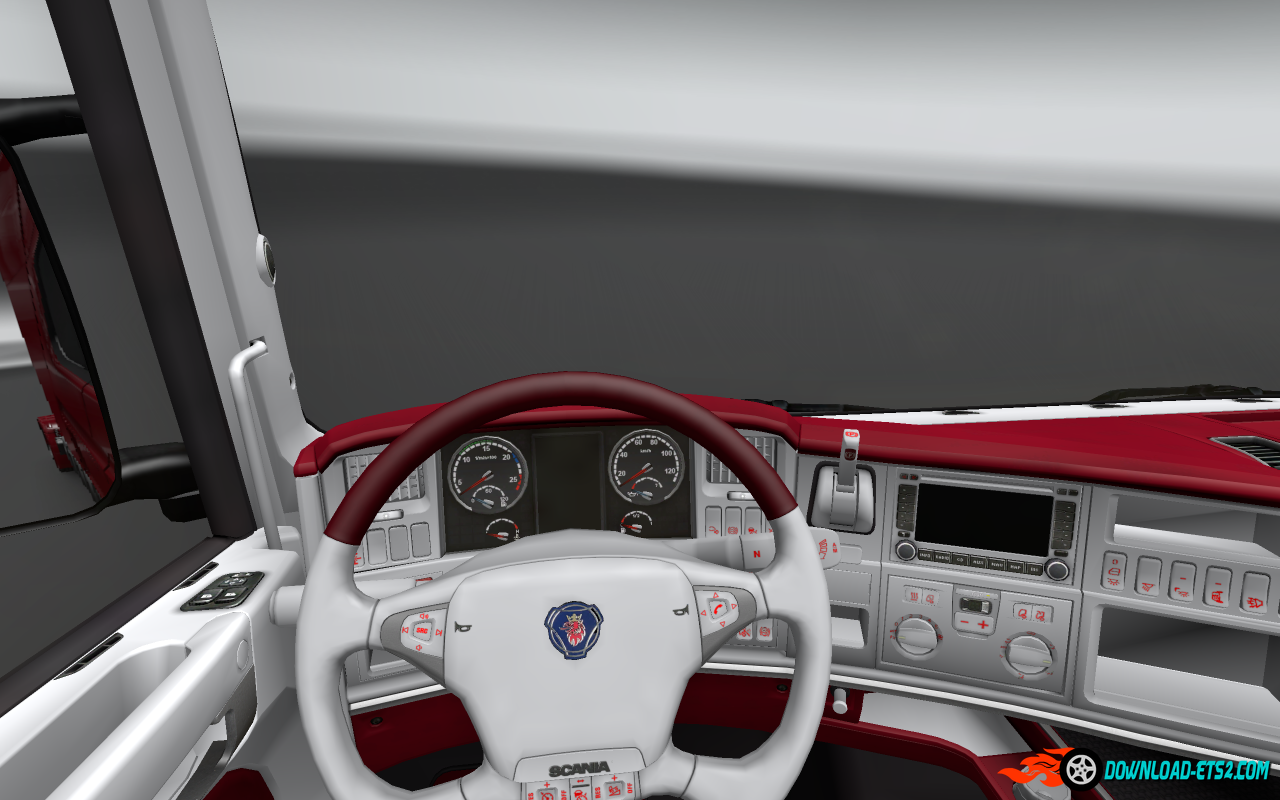 Scania red and white interior