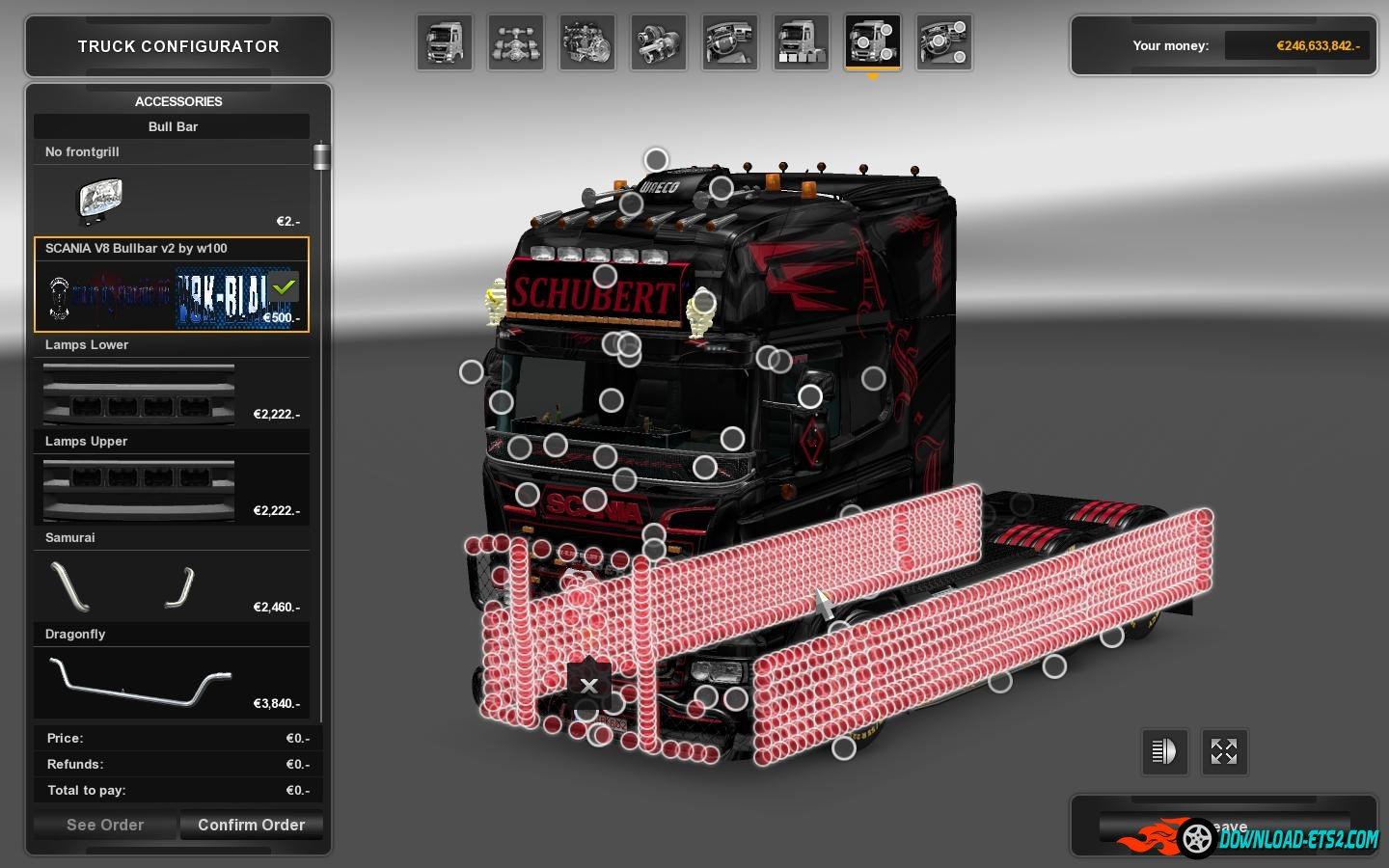 Bullbar V8K Slot Tuning by W100 » Download ETS 2 mods ...
