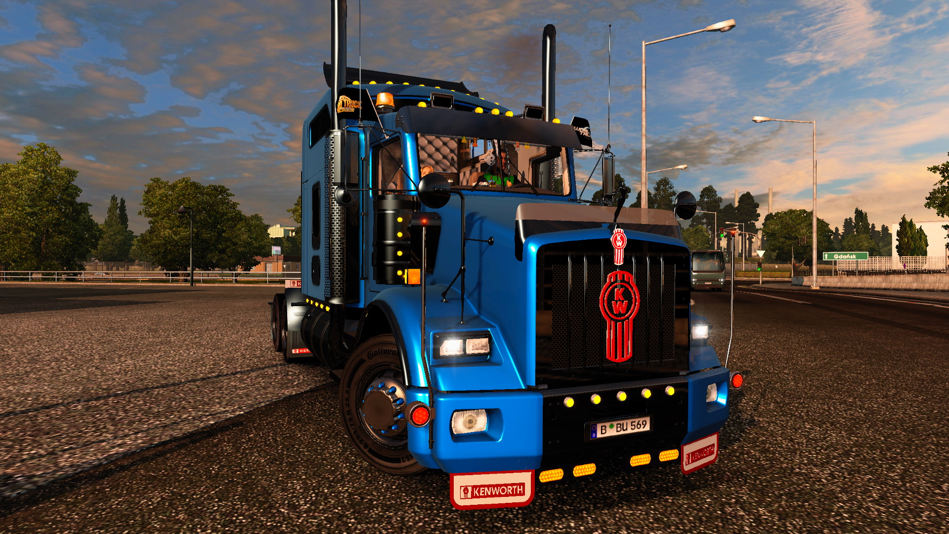 Kenworth T800 + Interior + DLC Cabin & Flags v2.3 (1.24.x)