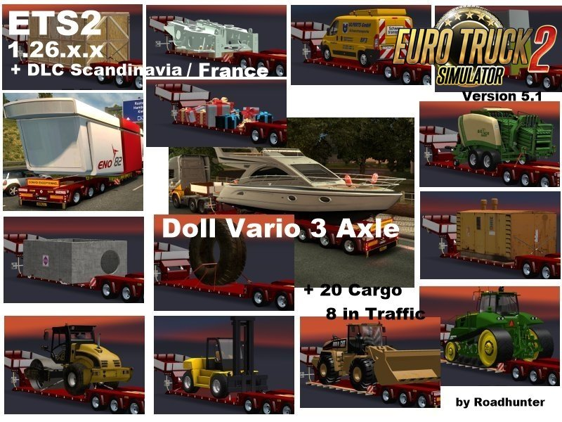 Trailers Doll Vario 3Achs with 20 Cargo