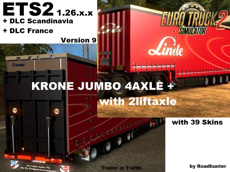 Trailers Krone Jumbo Curtainside 4 Axel Version v9.0