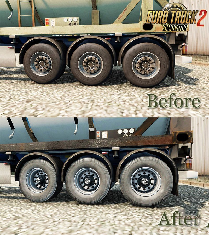 Dirty Wheels for Semi-Trailers