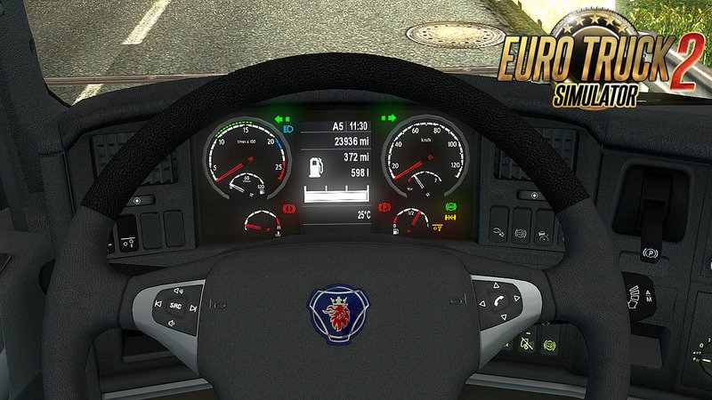 SCS Scania high-def interior gauges & emblem v2.0