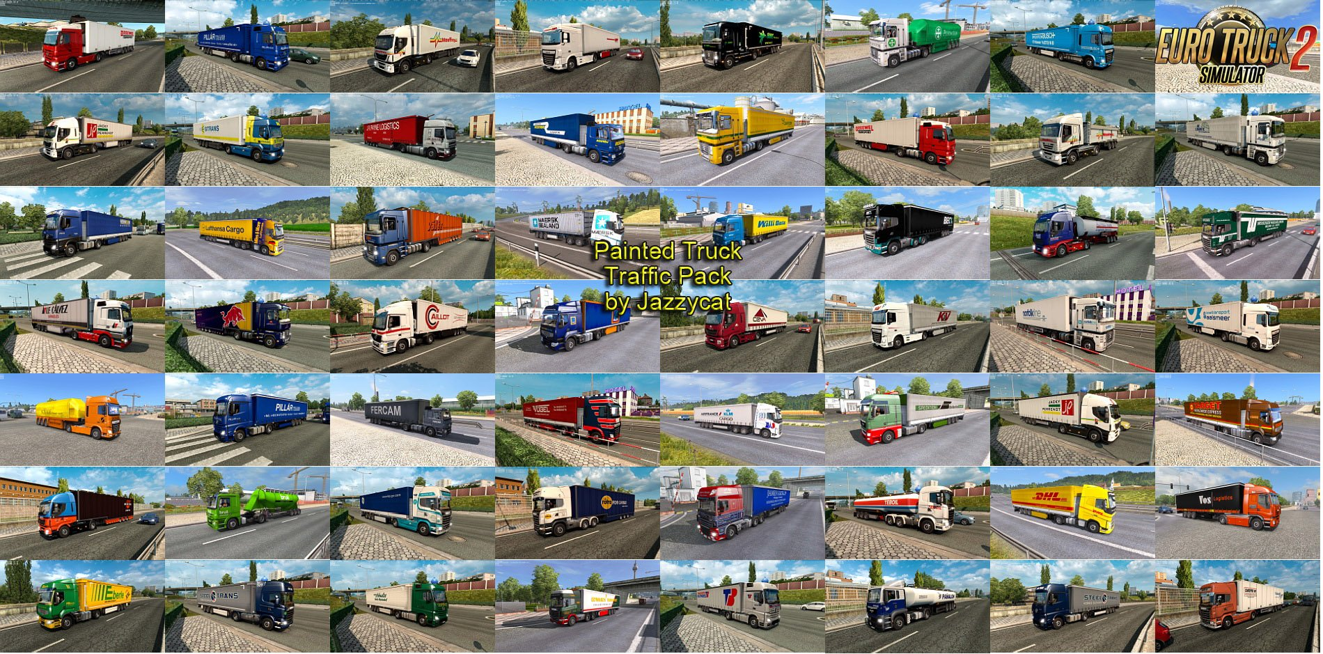 Painted Truck Traffic Pack v3.8 by Jazzycat (1.27.x)