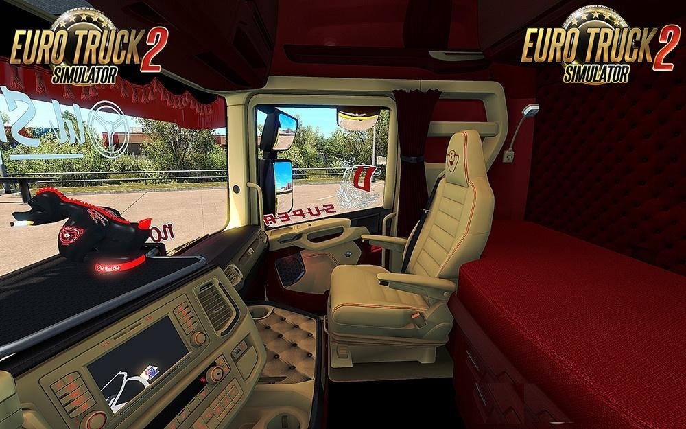 Scania S 2016 SCS Red & Beige Interior (In & Outside) v1.0 (1.30.x)