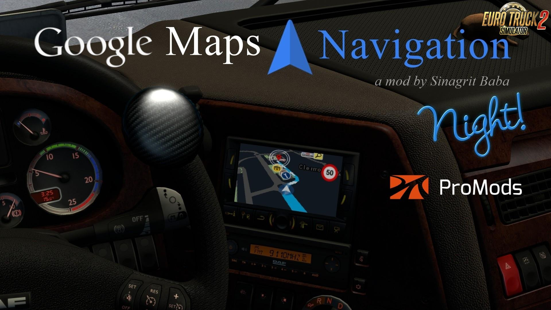 Google Maps Navigation Night Version v1.5 for ProMods 2.30