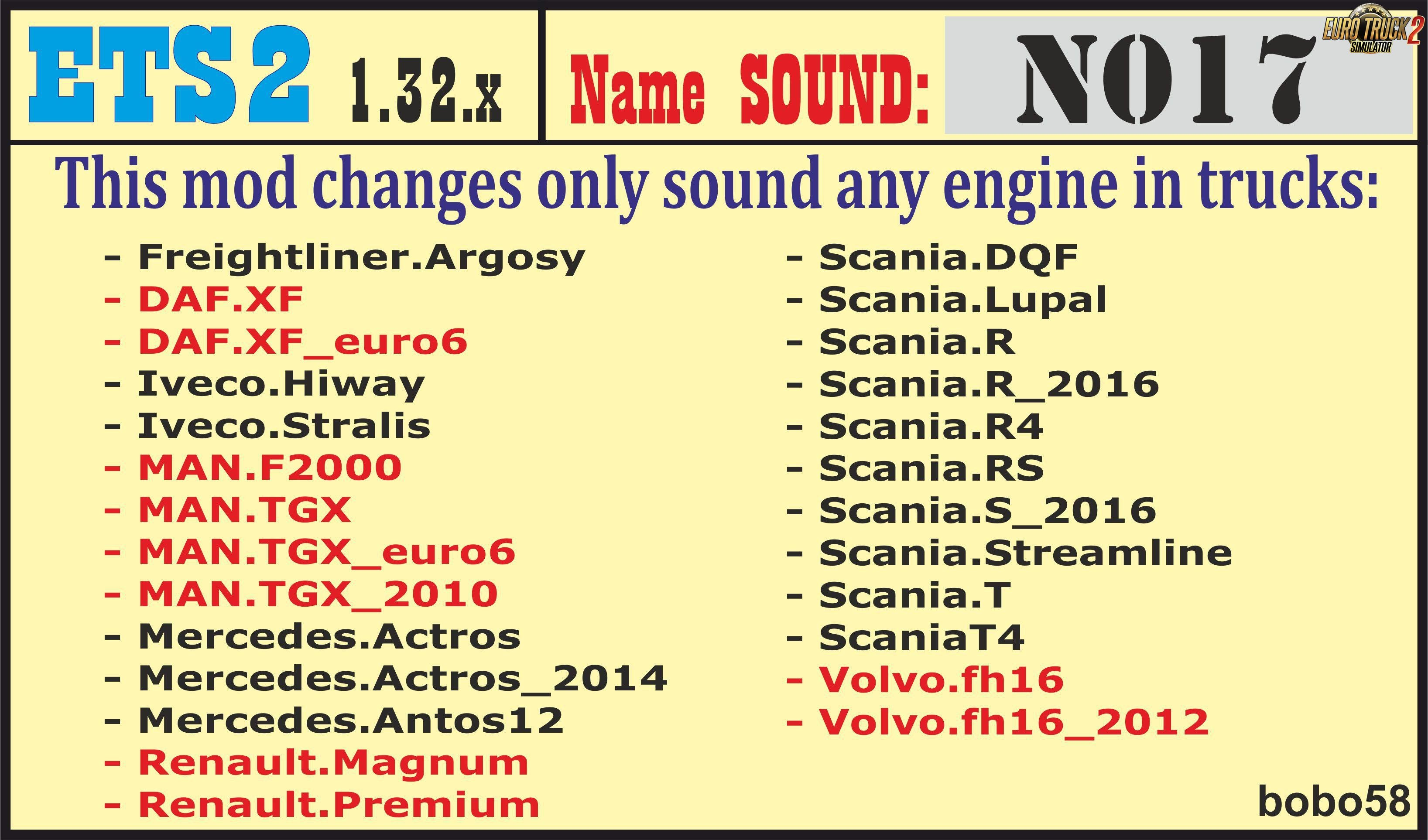 Sound mod for engines in trucks Ets2 by bobo58