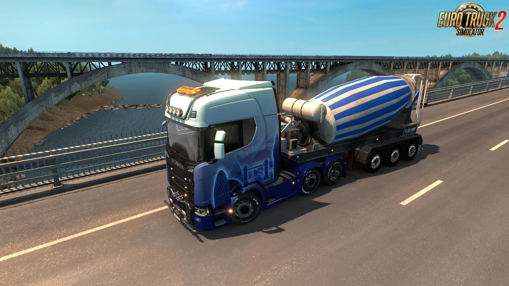 Cement Mixer Trailer in traffic [1.32.x]