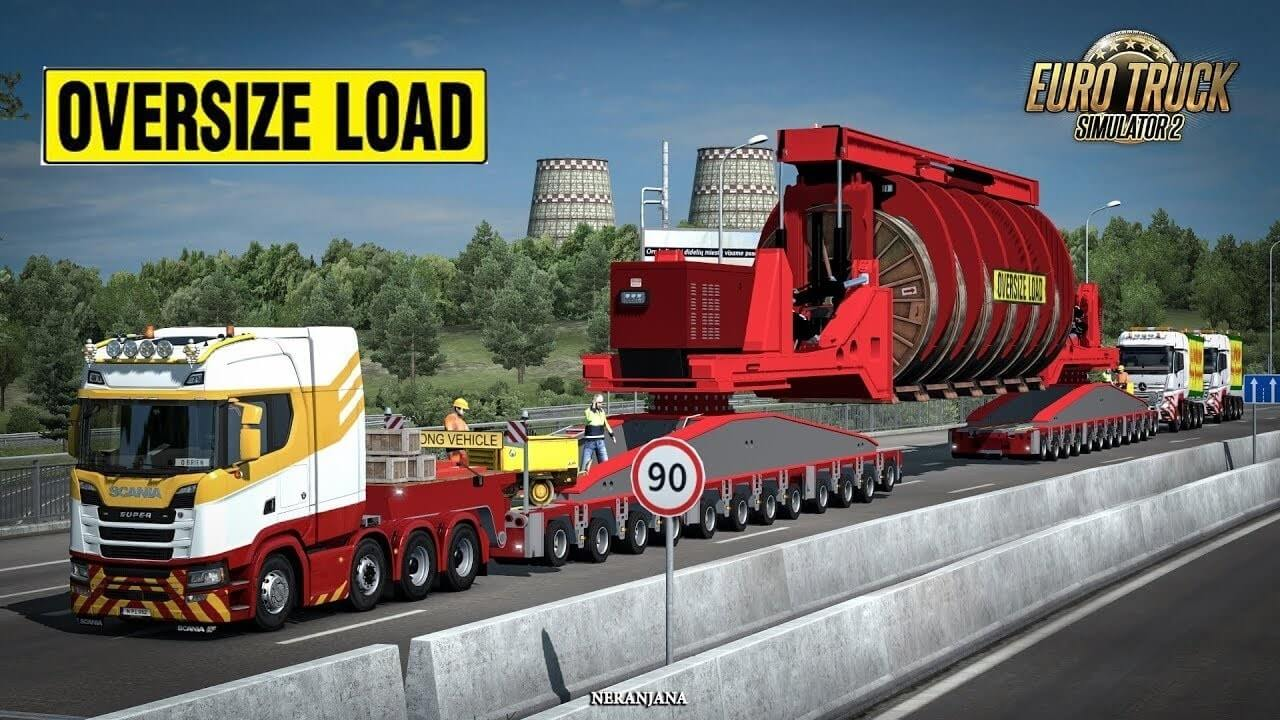Mega Industrial Cable Reel Transport with Support Trucks for Ets2