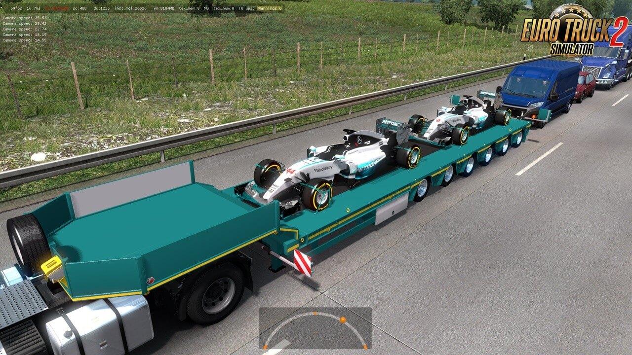 Mercedes AMG Petronas F1 Team Trailer in Ets2 traffic