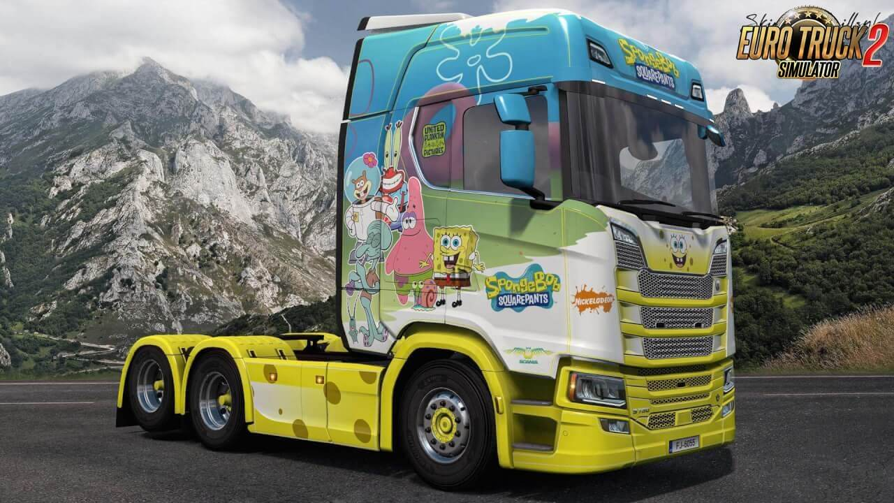 SpongeBob SquarePants Skin for Scania Nextgen v1.0 (1.37.x)