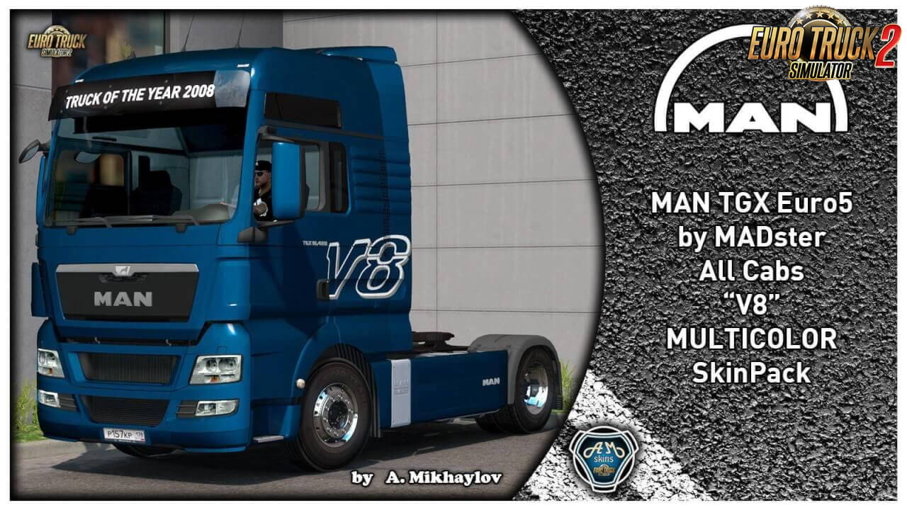 MAN TGX Euro 5 V8 Multicolor Skin Pack v1.0 (1.37.x)