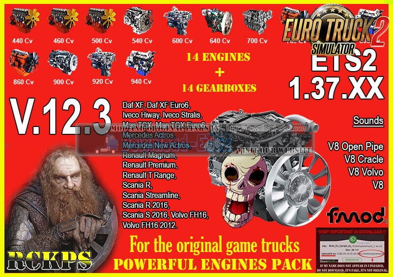 Pack Powerful Engines + Gearboxes v12.3 for ETS2 1.37.x