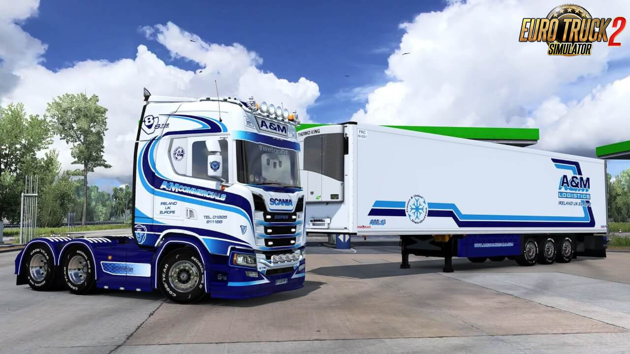 A&M Commercials Skin for Scania S + Trailer v1.0 (1.37.x)