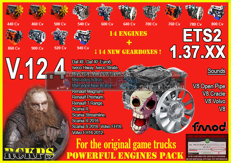 Pack Powerful Engines + Gearboxes v12.4 (1.37.x) for ETS2