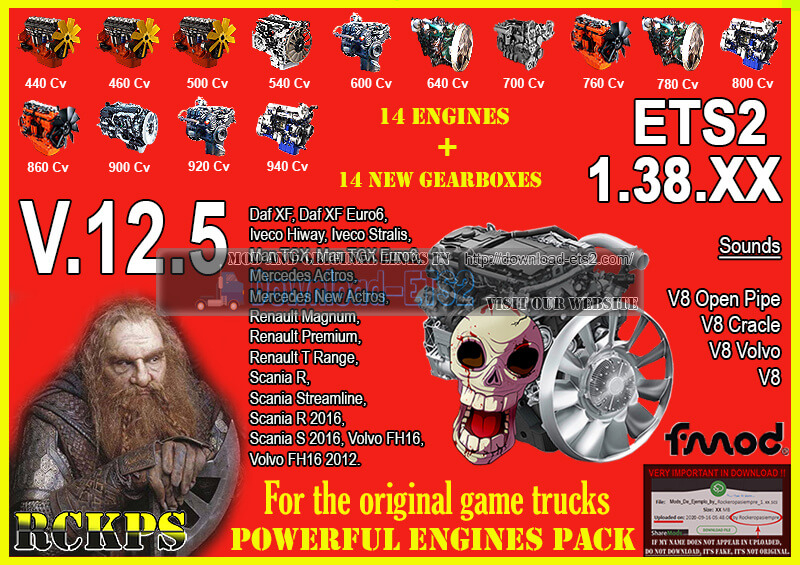 Pack Powerful Engines + Gearboxes v12.6 (1.38.x) for ETS2