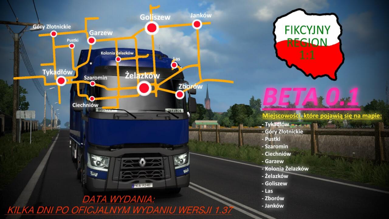 Fikcyjny Region Map 1:1 v0.11 (1.38.x) for ETS2